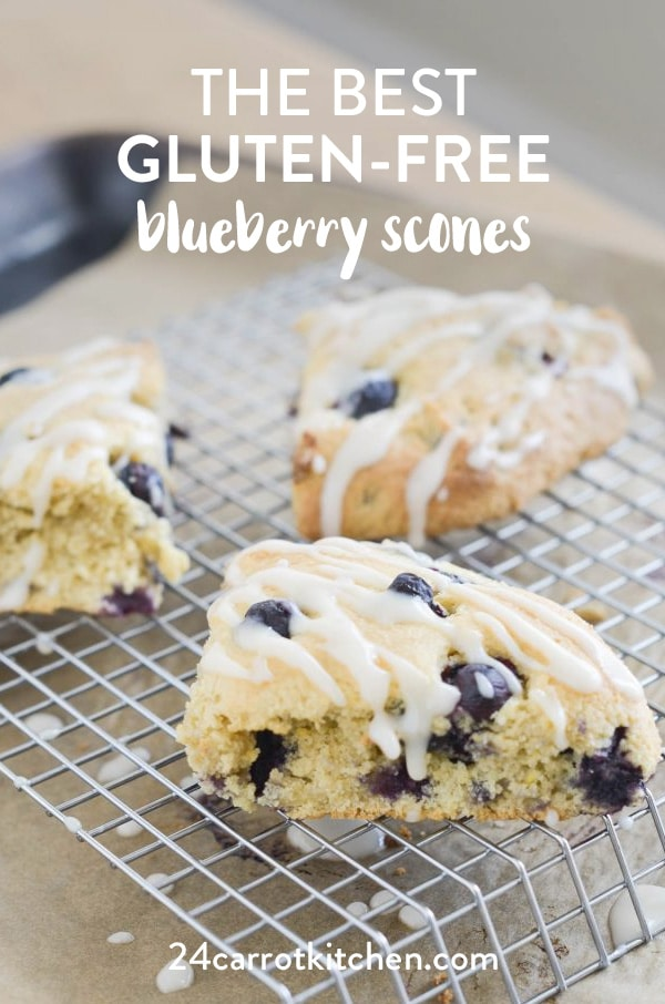 Gluten-Free Blueberry Scones: firm exteriors with soft, flaky interiors, bursting with blueberries!  Don't forget the super simple glaze!  Definitely, PIN for later!  #dairy-free #gluten-free #Paleo #scones #breakfast #grain-free #blueberry