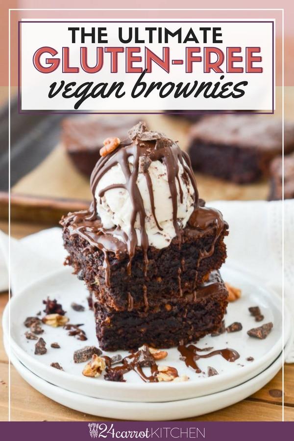 vegan gluten-free brownies on a plate