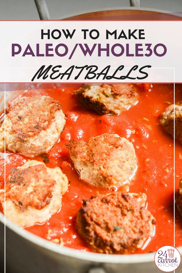 Delicious Paleo/Whole30 turkey meatballs with a delicious tomato sauce.  Make a big batch and freeze some for later!  #paleodinners #paleoentrees #paleo #gluten-free #dairy-free #meatballs #grain-free