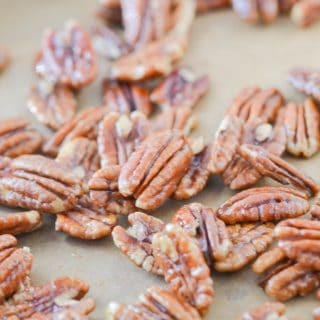 Maple Pecans on baking sheet - 24 Carrot Kitchen