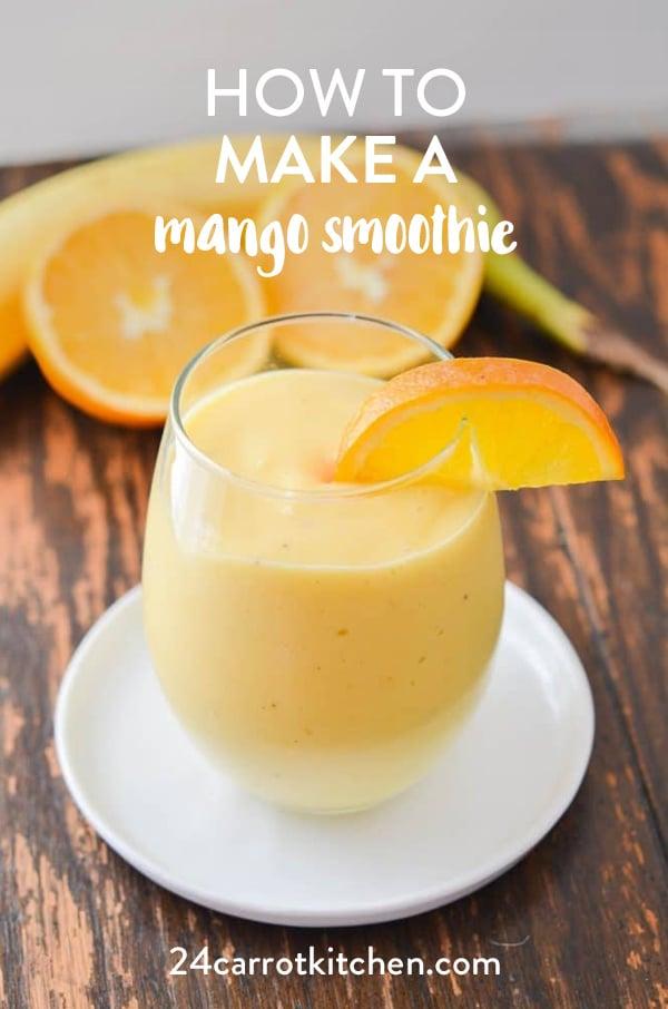 Creamy, dairy-free mango orange smoothie that is amazing using healthy ingredients!  Definitely, PIN for later! #dairy-free #vegan #grain-free #gluten-free #Paleo #smoothie #mango #vegansmoothie #dessert