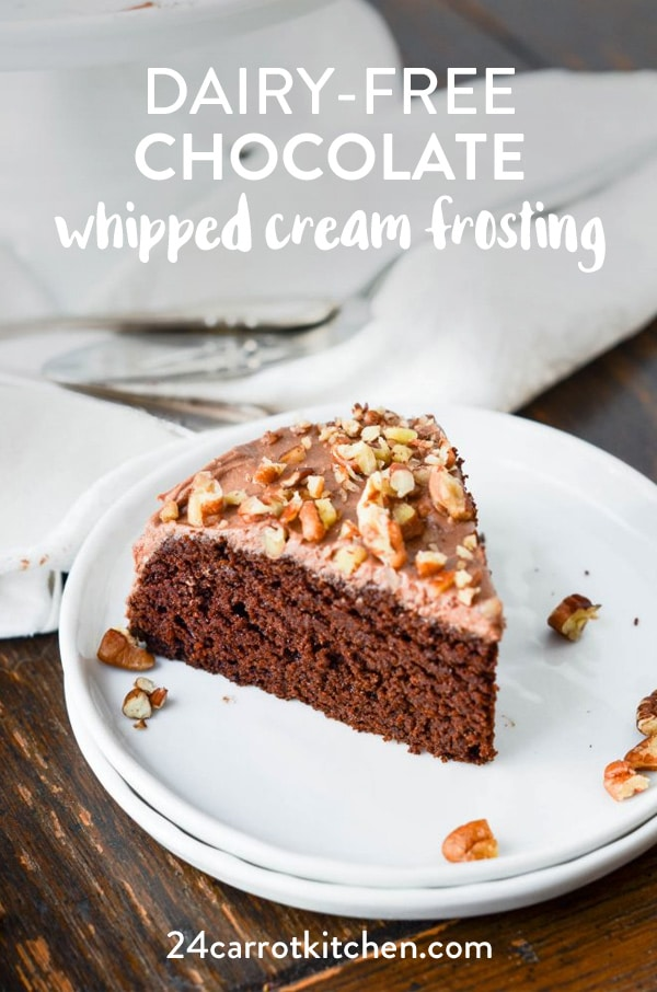 Dairy-free Chocolate Whipped Cream Frosting that is super creamy and delicious!  Just a few ingredients are needed!  Definitely, PIN for later!  #dairy-free #Paleo #gluten-free #grain-free #vegan #dessert #chocolate #whippedcream