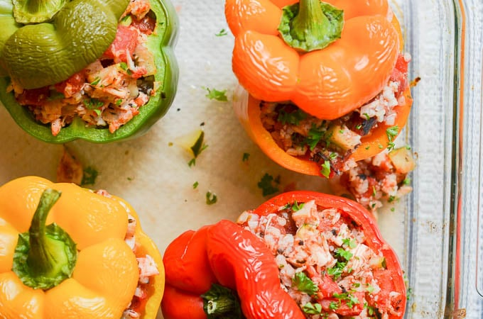 overhead shot of Paleo Stuffed Peppers in pan - 24 Carrot Kitchen