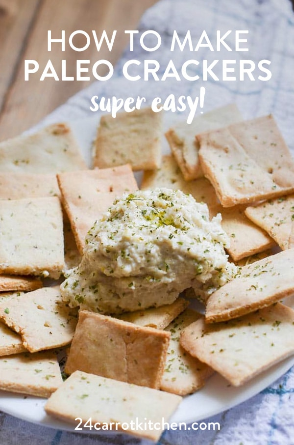 Make these crispy Paleo crackers with just a few ingredients!  Dip in some vegan cream cheese or your favorite spread!  #Paleo #vegan #dairy-free #grain-free #gluten-free #crackers #whole30