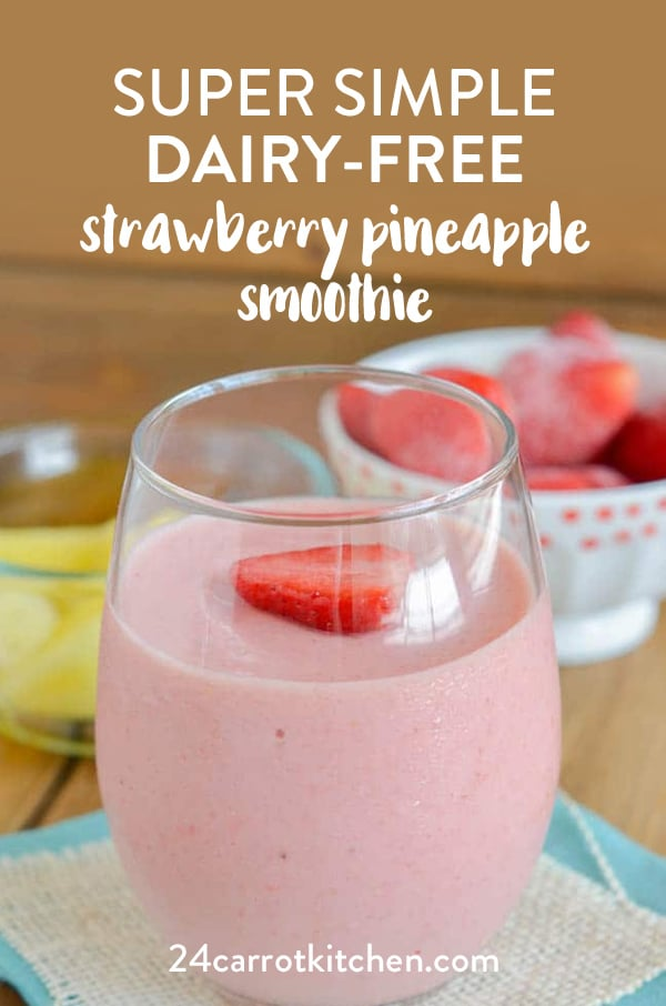 Make this amazing strawberry pineapple smoothie in under 5 minutes!  Dairy-Free, gluten-free, Paleo, vegan and grain-free!  Plus, refined sugar-free!  #Paleo #dairy-free #gluten-free #vegan #smoothies #strawberry #pineapple #grain-free