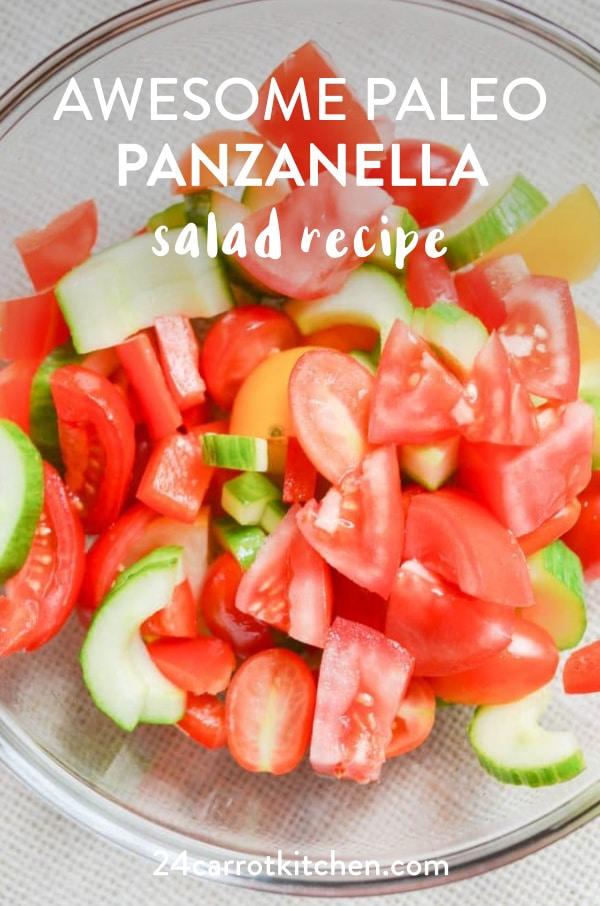 Paleo Panzanella Salad in bowl.