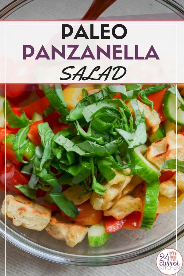 Try this amazing Paleo Panzanella Salad with fluffy, crunchy, crispy croutons!  #grain-free #gluten-free #dairy-free #vegan #salad #paleo