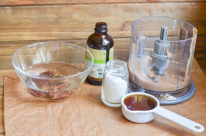 ingredients for vegan caramel sauce on counter.