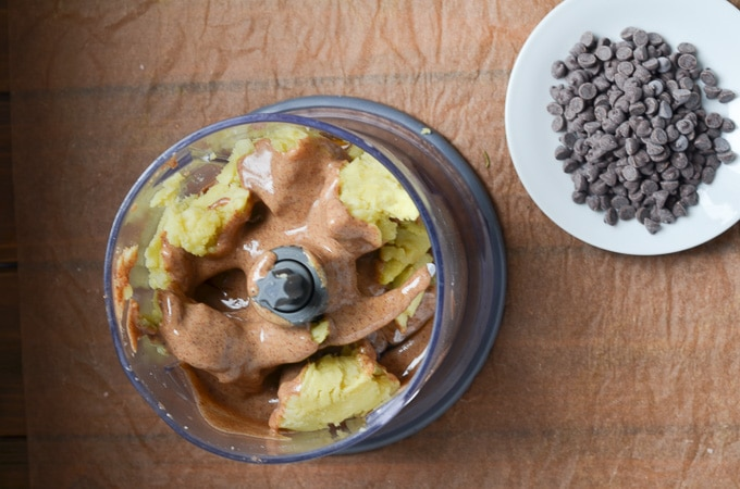 Ingredients for vegan cookie dough in small food processor.