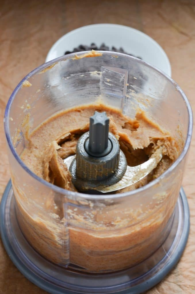 vegan cookie dough in food processor.