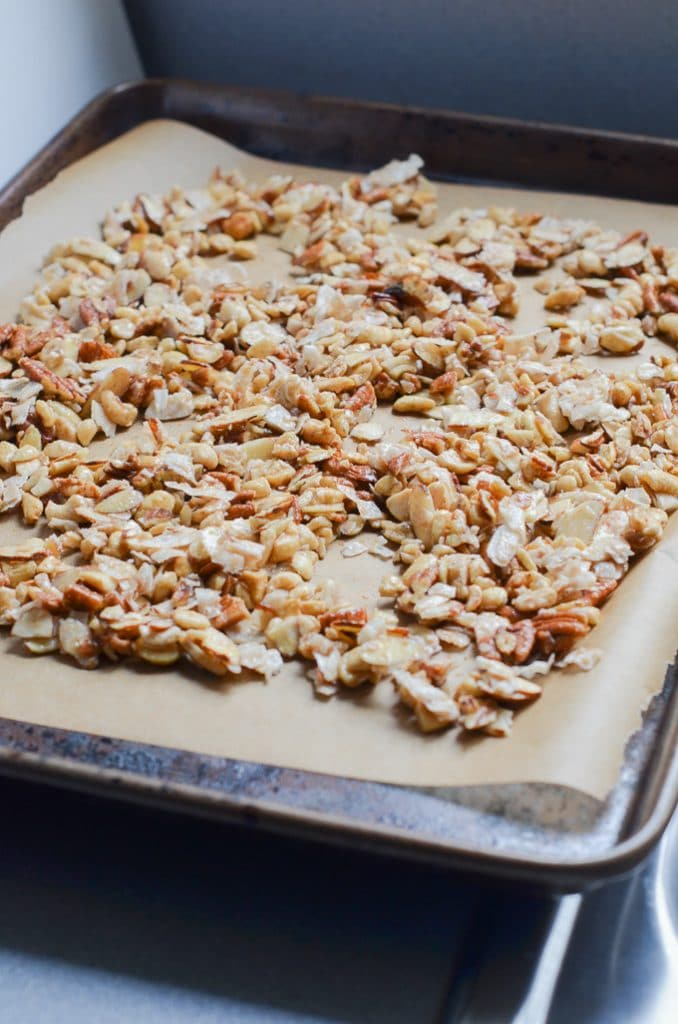 vegan granola on baking sheet.