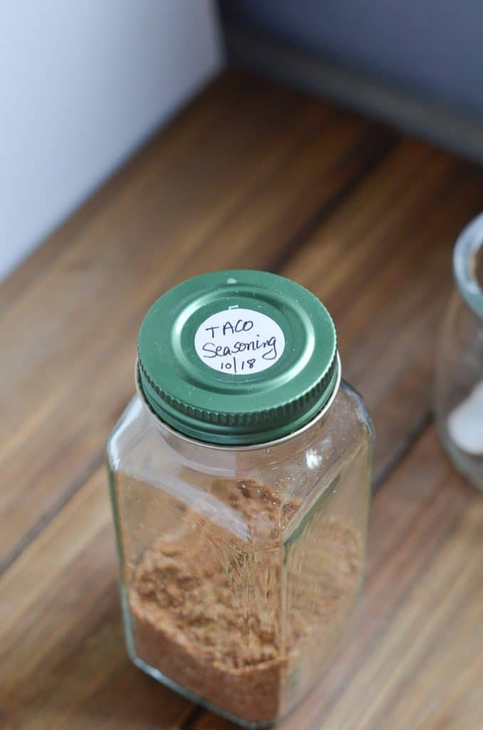 whole30 taco seasoning in spice jar with lid and label.