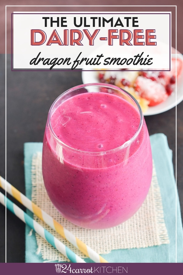 This creamy, delicious dragon fruit smoothie (pitaya) is refreshing and a good source of vitamin C and antioxidants!  Just a few ingredients needed and whip this up in minutes!   #smoothie #dragonfruit #vegan #dairy-free