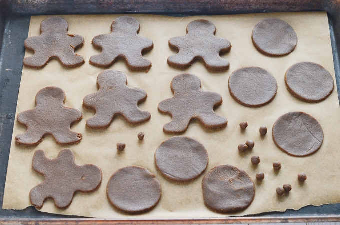 vegan gingerbread cookies on baking sheet ready for oven.