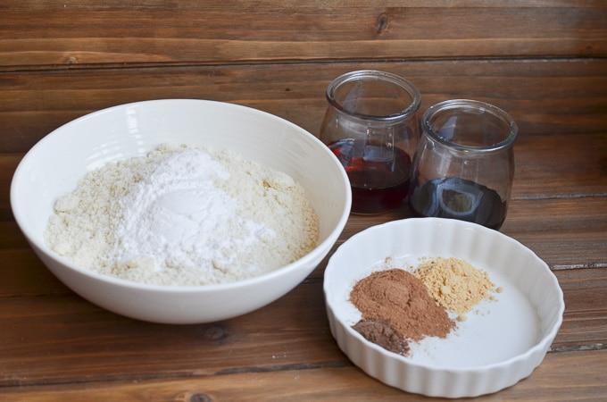 ingredients for vegan gingerbread cookies on counter.