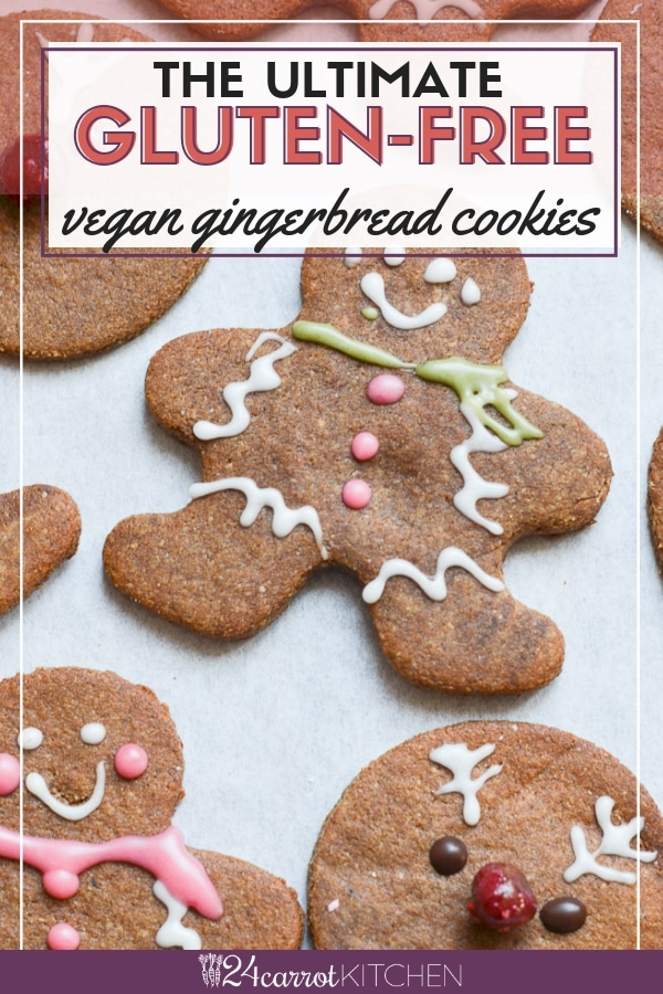 Delicious, super-easy vegan gingerbread cookies that are gluten-free, grain-free, dairy-free and Paleo!  Easy to roll dough and a recipe with just a few ingredients make this the ultimate recipe for the holidays!  #vegan #cookies #Christmas #Gluten-free #dessert
