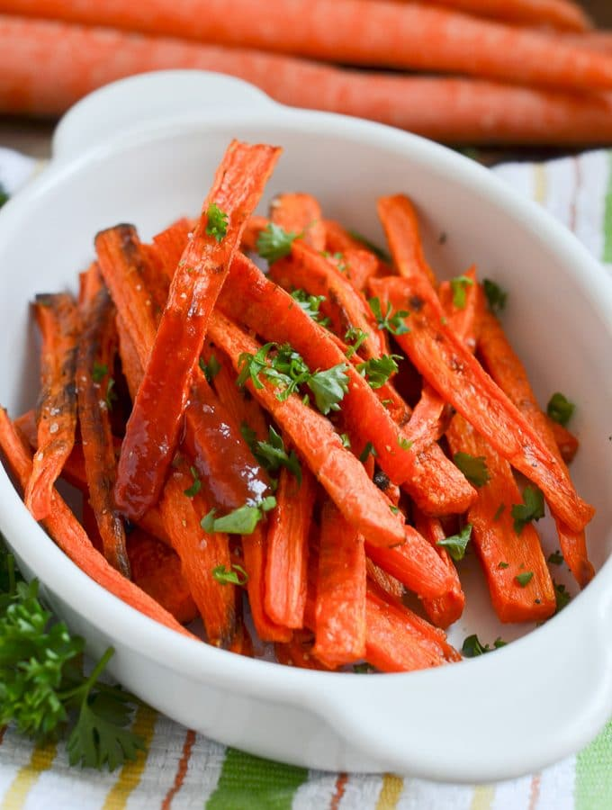 carrot fries on plate.