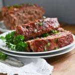 slices of paleo meatloaf on plate.
