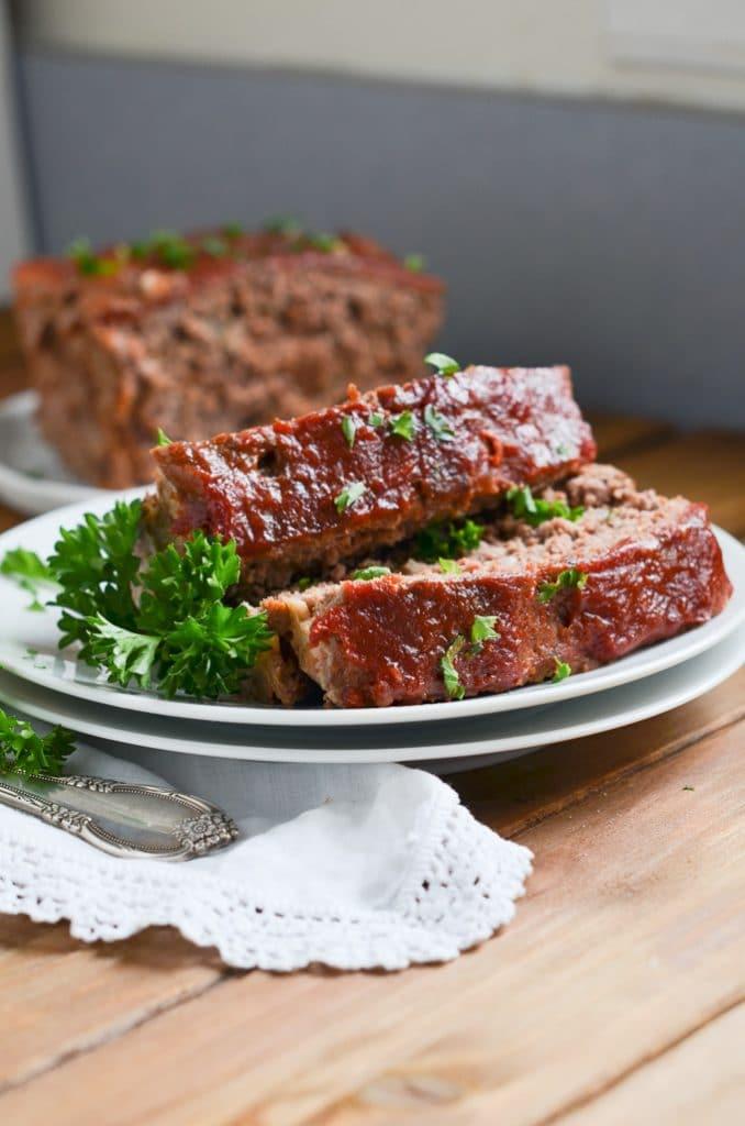 slices of paleo meatloaf on plate.