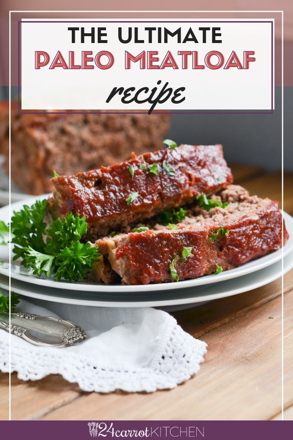 Paleo meatloaf slices on plate.