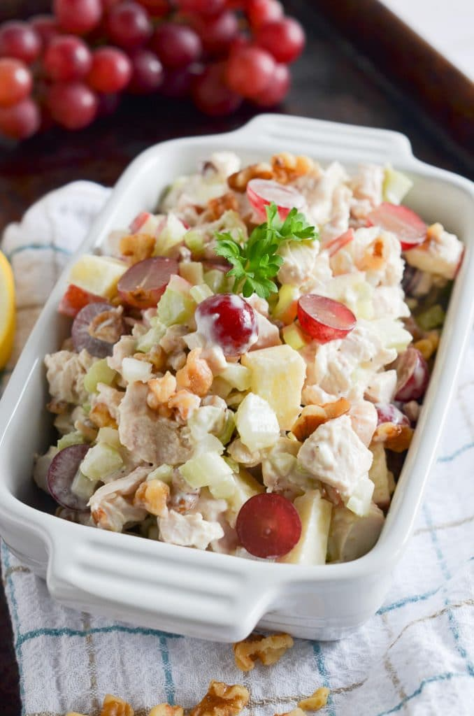 Waldorf Salad in serving dish.