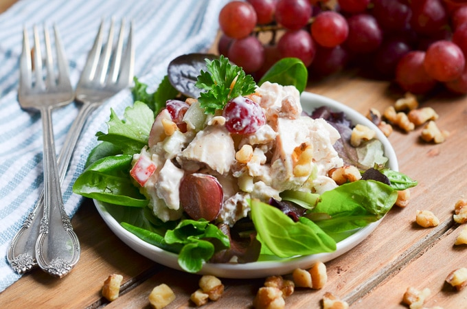 waldorf salad on plate.