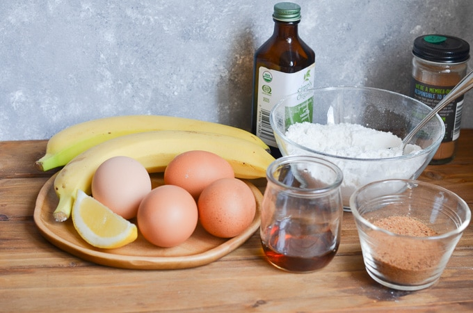 Ingredients for coconut flour banana bread.