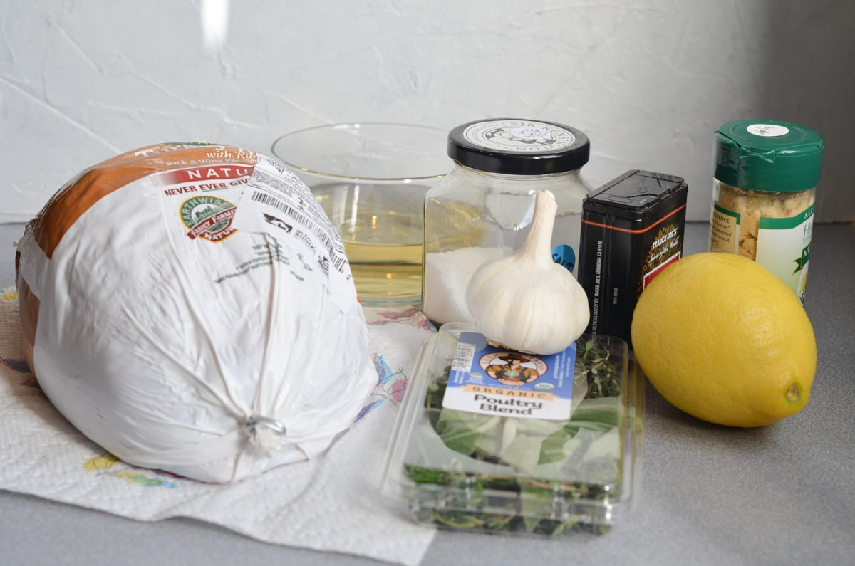 ingredients for roast turkey breast recipe on counter.