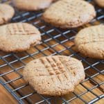 peanut butter cookies on cooling rack.