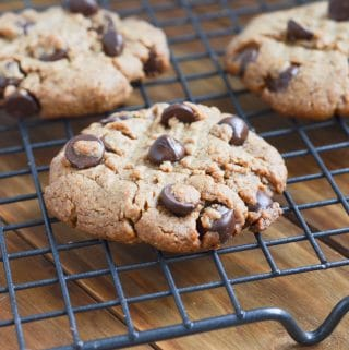peanut butter chocolate chip cookies on cooling rack.