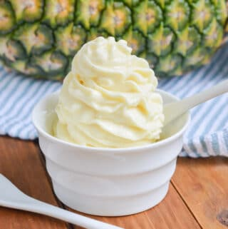 Dole Whip in a white bowl.